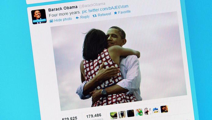 Het beeld dat Barack Obama via sociale media de wereld instuurde toen hij de verkiezingen won voor een tweede ambtstermijn.
