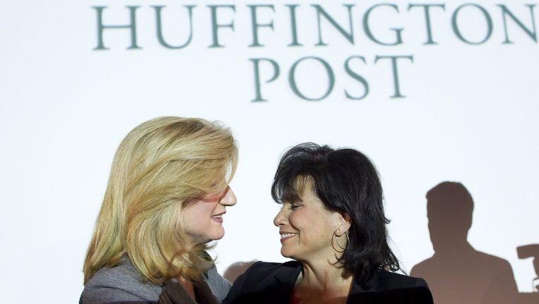 Anne Sinclair, hoofdredacteur van de Franse versie van Huffington Post samen met oprichter Arianna Huffington (Links). Beeld anp