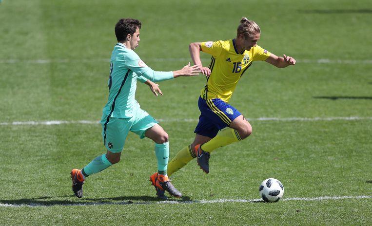 Nygren in actie in het shirt van de Zweedse nationale ploeg.