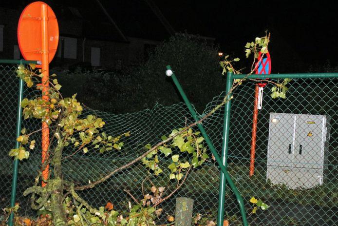 Omheining beschadigd door omgevallen boompje