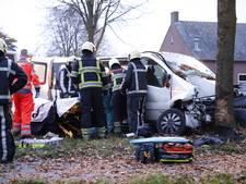 Twee inzittenden personenbusje gewond bij botsing met boom in Wanroij