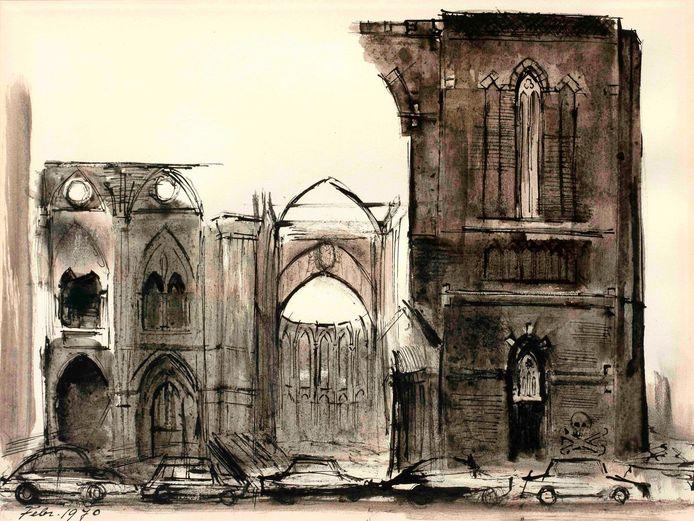 Sloop van de Barbarakathedraal, 1970 (pentekening)