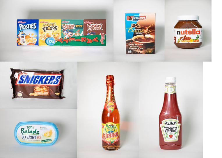 Een matige score voor Kellogg's Ontbijtgranen, Jacques Gallets Dessert, Nutella, Snickers, Balade so light, Kidibul en Heinz Ketchup.