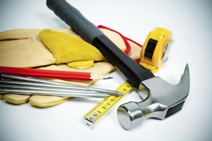 stockadr bouw bouwen nieuwbouw bouwvakker hamer gereedschap illustratie