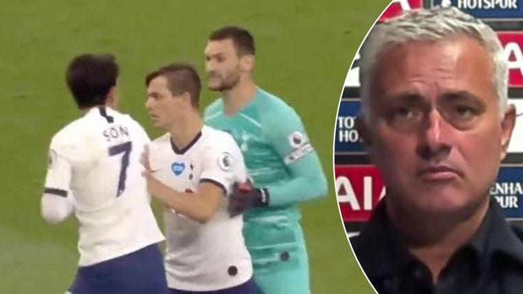 """Links: Lo Celso haalt Son en Lloris uit elkaar, Mourinho (rechts) noemt het """"prachtig."""""""