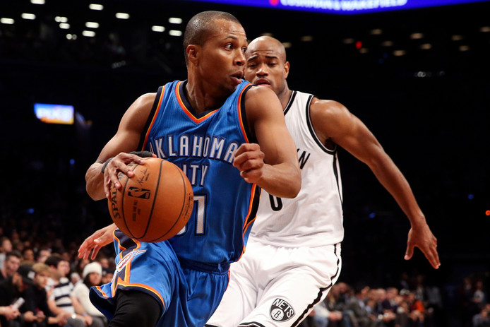 Sebastian Telfair in 2014 in actie namens Oklahoma City Thunder.