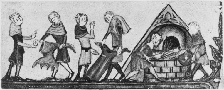 Kleren die besmet zijn met de Zwarte Dood worden verbrand, rond 1340. Illustratie uit een Alexanderroman uit de Bodleian Bibliotheek in Oxford.  Beeld Getty Images