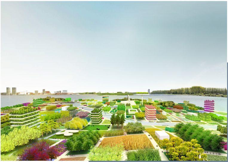 Impressie van het geplande Floriade-terrein. Beeld RV