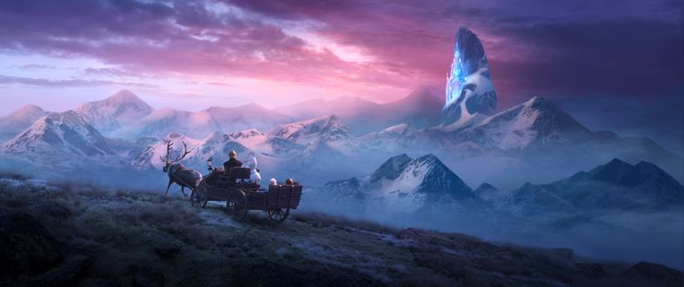 In het hyperrealistische winterse decor komen de getekende karakters van Frozen 2 goed uit.  Beeld