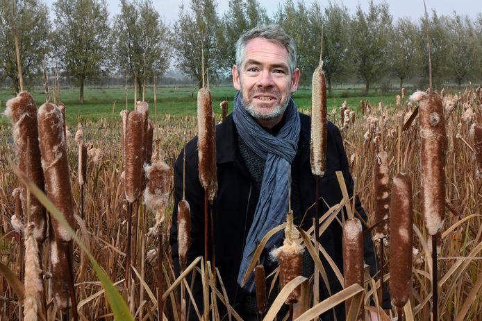 """Roelof Westerhof tussen de lisdodde. ,,Voordat je hele hectares met deze wuivende planten voor je ziet, dat is echt een opgave."""""""
