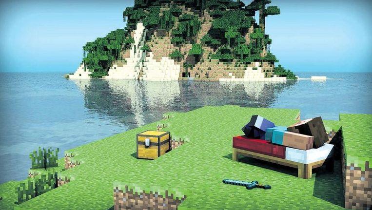 Minecraft is een computerspel waarbij gebouwd wordt met kubusvormige materialen; een soort Lego op beeldscherm. Beeld Colourbox