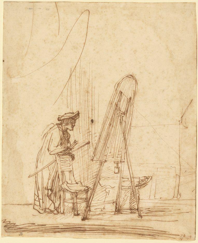 De schilder in zijn atelier, 1628. Beeld null