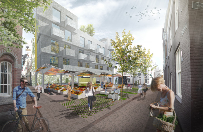 Impressie van het Luthersepleintje nabij de Korenmarkt in Arnhem in het plan van NEXIT architecten, gezien vanaf de hoek van de Varkensstraat en de Tullekensteeg.