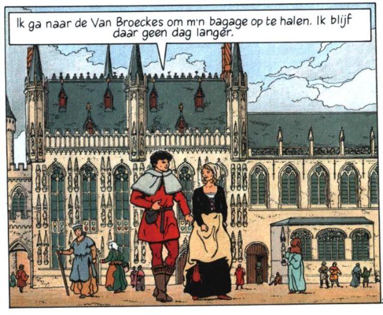 Vasco op de Brugse Burg, voor het stadhuis.