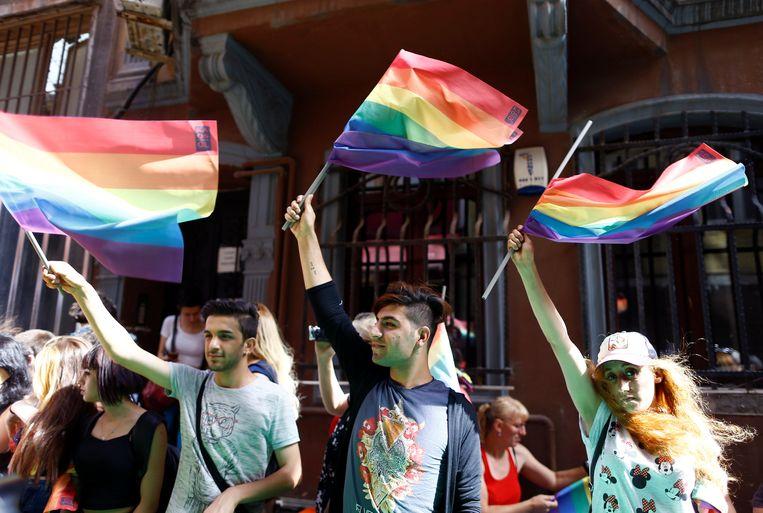 LHBTI-activisten zwaaien met regenboogvlaggen tijdens de gay pride in Istanboel in 2016, die wegens veiligheidsoverwegingen werd afgelast door de gouverneur van de Turkse stad. Beeld REUTERS