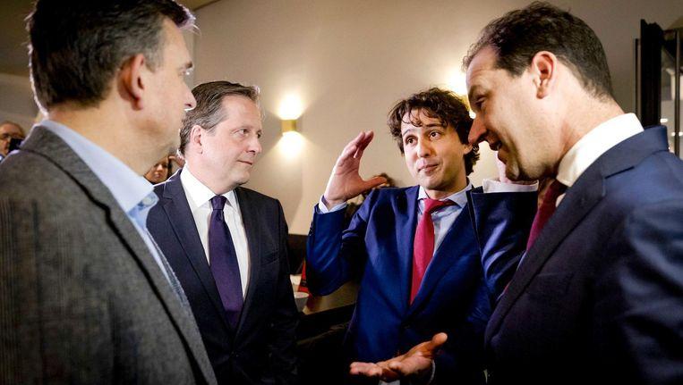 Jesse Klaver en Lodewijk Asscher voor een verkiezingsdebat in februari Beeld ANP