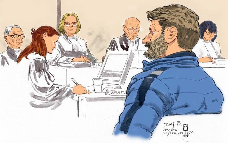 Klusjesman Josef B. was al die maanden als enige bij de tussentijdse zittingen van de rechtbank. Beeld ANP