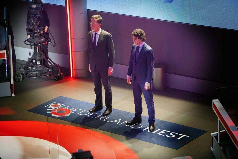 Jesse Klaver (rechts) naast VVD-voorman Mark Rutte. Beeld anp