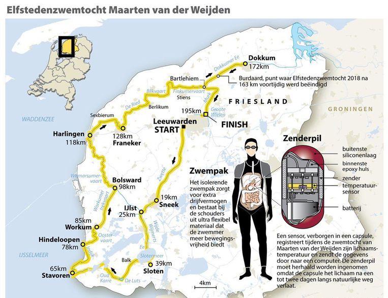 De kaart van de route. Beeld ANP