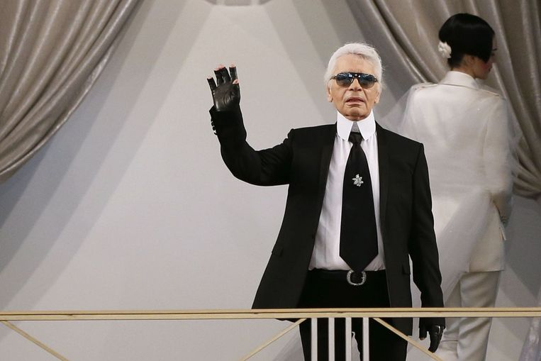Karl Lagerfeld tijdens de meest recente show van Chanel Beeld ANP