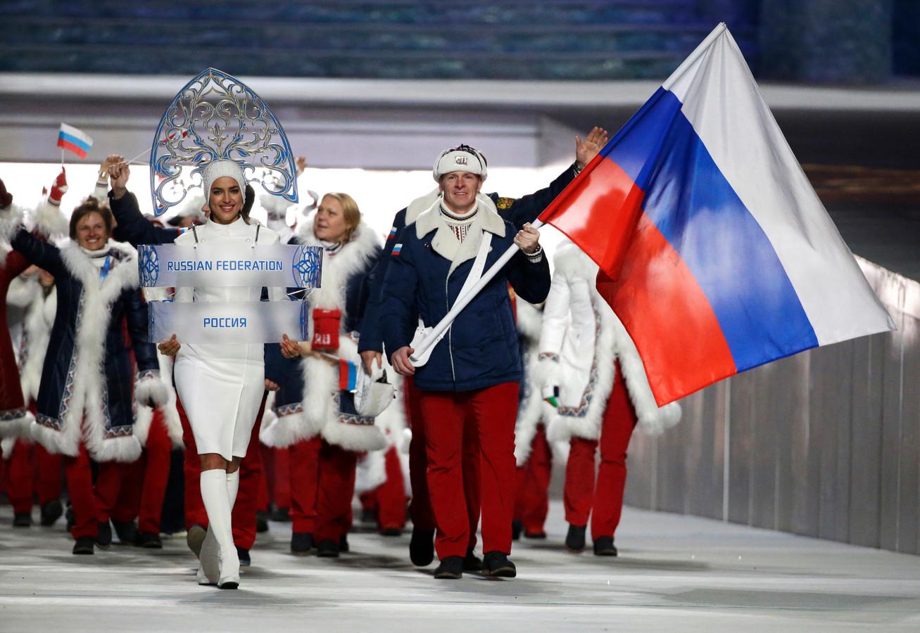 De Russische sporters voor de Olympische Winterspelen in Sotsji in 2014.
