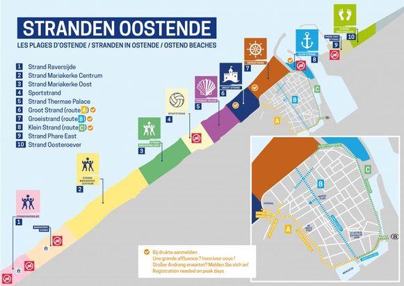 Dit plannetje van Oostende toont waar je al dan niet voor moet reserveren.