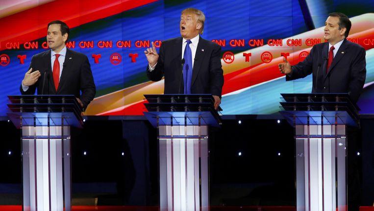 Marco Rubio, Donald Trump en Ted Cruz tijdens het debat donderdag op vrijdagnacht. Beeld Reuters
