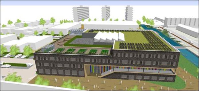 Impressietekening van de nieuwe inrichting van het dak van het IJsselcollege aan de Pelikaanweg.