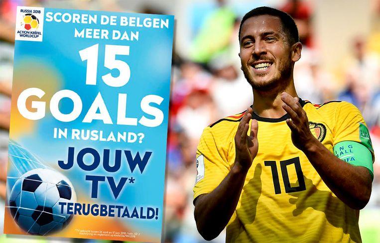 Eden Hazard scoorde de 2-0 waardoor het doelpuntensaldo op 16 staat. Krëfel betaalt je tv terug!