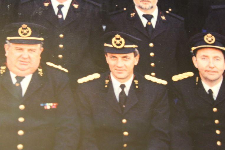 Marc Verkest (midden) als dertiger bij de Aalterse brandweer.