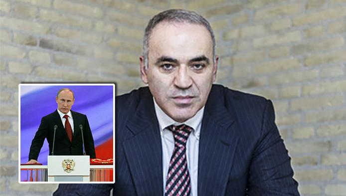 Oud-topschaker Garry Kasparov. Inzetje: zijn rivaal, de Russische president Vladimir Poetin