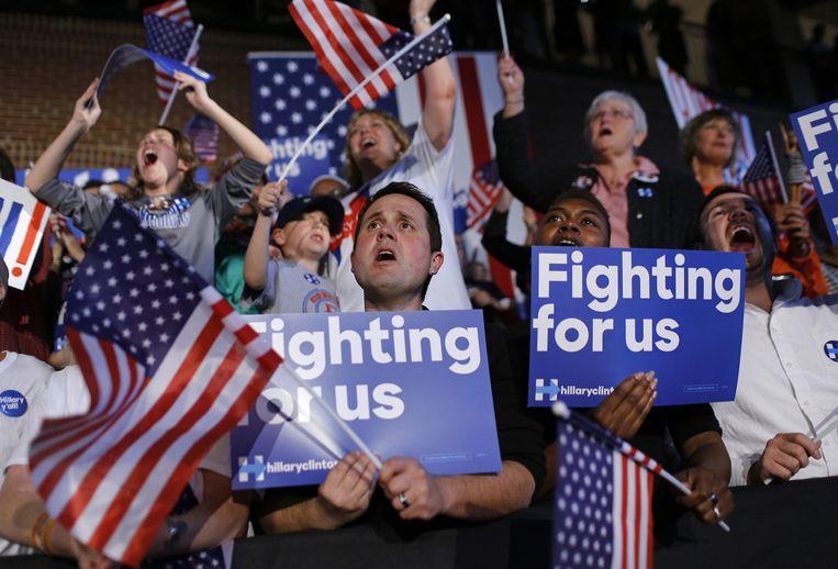 Aanhangers van Clinton. Beeld ap
