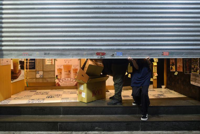 Veel winkels in Hongkong bleven vandaag gesloten.