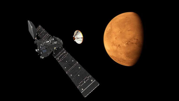 Een illustratie van de scheiding van de Trace Gas Orbitor die zich losmaakt van de Schiaparellimodule en op weg gaat naar Mars.