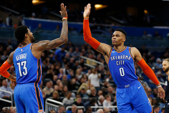 Paul George en Russell Westbrook