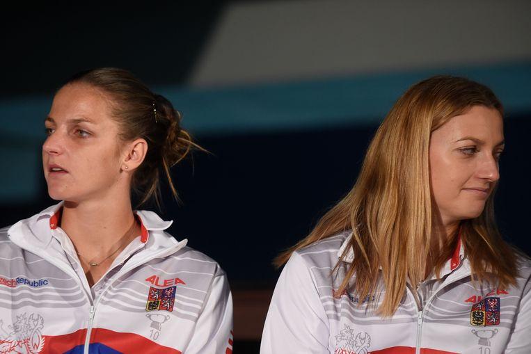 Pliskova (l) en Kvitova.
