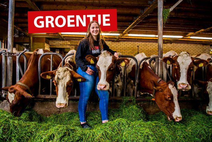 Groentje Maartje Steenwijk op de boerderij.