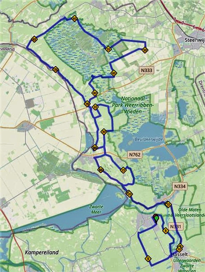 Routekaart voor de 48ste Omloop van Noordwest Overijssel. De junioren koers door de Weerribben.  Voor de nieuwelingen en junior dames gaat het tot Blokzijl.