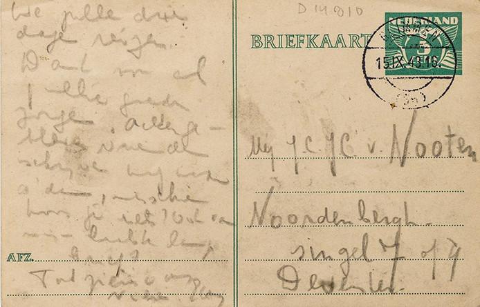 Een briefkaart uit de collectie van het Joods Historisch Museum, die afkomstig is van Etty Hillesum.