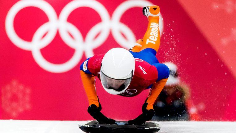Kimberley Bos tijdens de training in het Olympic Sliding Centre tijdens de Olympische Winterspelen van Pyeongchang Beeld anp