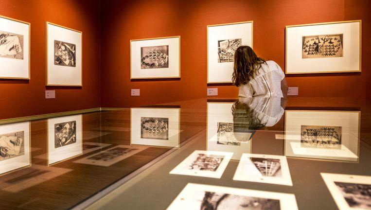 Een bezoeker in het Haagse museum Escher in het Paleis. Het museum laat vaak niet het originele werk zien maar reproducties. Beeld Raymond Rutting / de Volkskrant