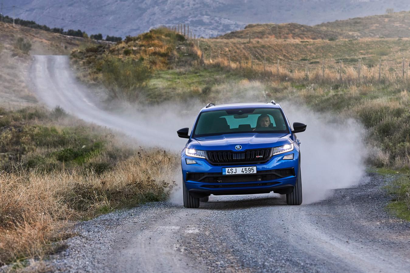 Vooral in de kleur Race Blue is de Kodiaq RS een sportieve verschijning.