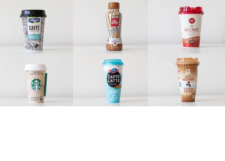 Deze dranken komen de smaaktest niet goed door, van links naar rechts: Alpro Caffè Peruvian Coffee & Coconut Blend, Illy Latte Macchiato, Douwe Egberts Ice Macchiato, Starbucks Caffè Latte, Emmi Caffè Latte Balance en Boni Latte Macchiato.