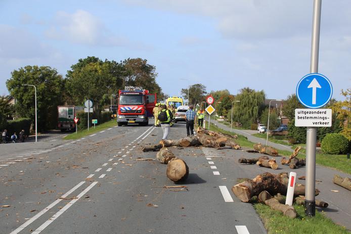 Vrachtwagen kantelt met lading boomstammen in 's-Gravenzande.