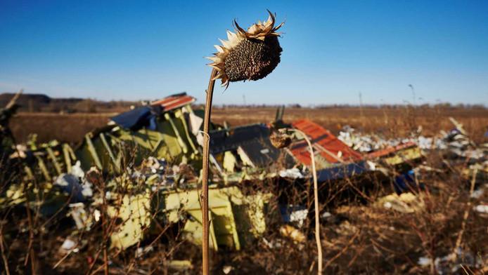 Wrakstukken van de neergestorte vlucht MH17