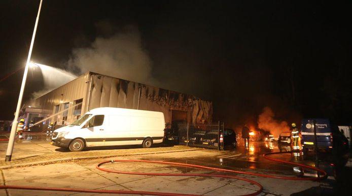 Talloze auto's in vlammen op bij zeer grote brand bij autobedrijf in Brakel