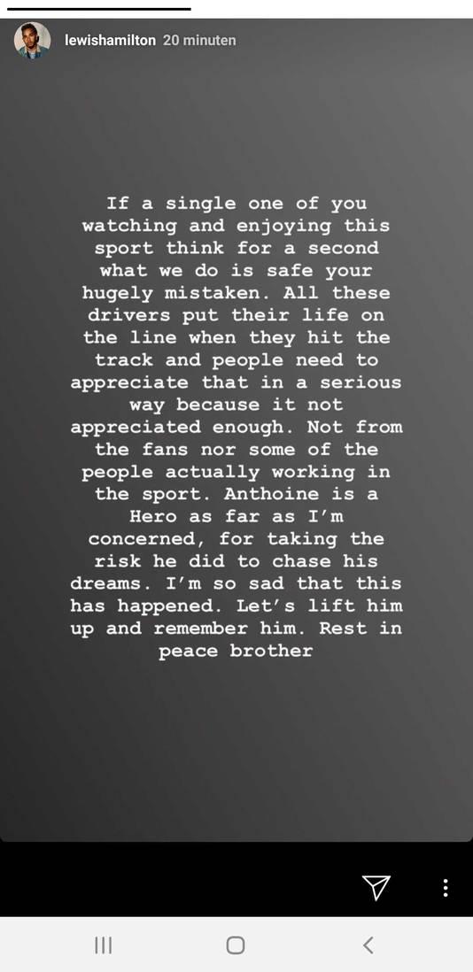 Instagram-verhaal Lewis Hamilton.