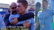 Dit moment met Guardiola tijdens de titelviering toont droge humor De Bruyne