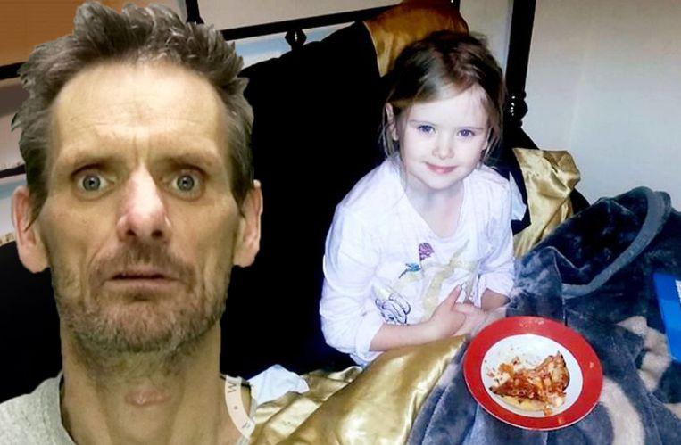 William Billingham (links). Hij vermoordde zijn dochter Mylee, rechts op de foto die luttele momenten voor haar dood werd genomen.