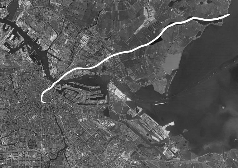 De loop van de Waterlandse Die, van Noord naar het centrum. Beeld Ilustratie uit het boek